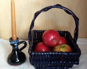 Vintage wicker basket, Dark blue basket, Gift basket, Kitchen basket, Sewing basket