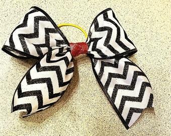 Black And White Chevron Cheer Bow, Polka Dot Cheer Bows, Cheerleading Competion Bow