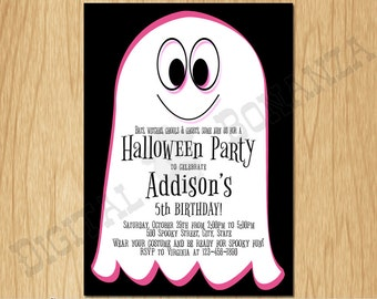Halloween Invitation Halloween Party Invite Costume Party Kids Birthday Party Girl Birthday Pink Ghost K0010