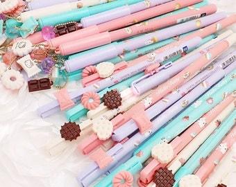 "Gel Pen : Cute Fancy Writing Fine Tip ""Pastel Kitty"" Kawaii Planner Pens | Back To School Stationery  Office | Life Planner Desk Accessories"