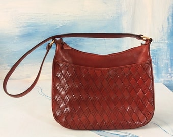 Vintage Etienne Aigner // Brown Woven Leather // Women's Small Satchel // Women's Small Purse