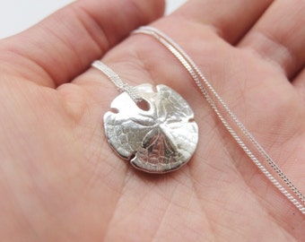 Sand Dollar Necklace // Sterling Silver Handmade Shell Pendant // Beach Jewellery // Gifts For Her // Organic Sea Inspired Jewellery