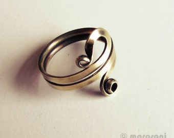 Ring ethnic arabesque - antique brass - adjustable