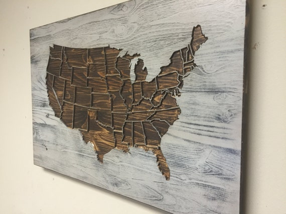Wall Art At House Of Fraser : Rustic us map wall art wood carved united states with