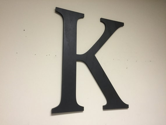 Letter wall decor solid black k large wall mounted by howdyowl for Large letter k wall decor