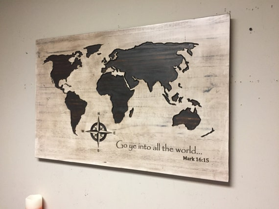 Wood wall art carved world map spiritual decor