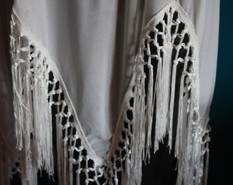 Bohemian dress in cloth and fringe