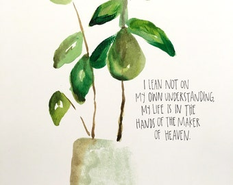 Plant watercolor print 8x10in