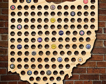 Giant XL Ohio Beer Cap Map - Beer Gifts for Buckeyes Fans - Bottle Cap Holder Creates Cool Beer Art! - Precision Made in the USA from Birch
