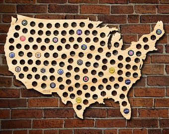 Bottle Cap Display Etsy - Us beer cap map