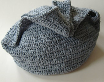 Denim Hobo Bag, Crochet Hobo Bag, Large Bag, Beach Bag, Large Market Bag, Crochet Purse, Hobo Style Bag, Denim Blue Bag, Tote, Gift For Her