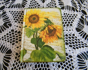 A6 notebook,pocket notebook,ideas journal,handmade notebook,planner, sunflowers diary, christmas gift, gift idea for her, moms gift