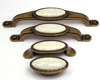 2.5'' 3.78'' 5'' Antique Bronze Crack Door Pulls Oval Gem Ceramic Knobs Kitchen Cabinet Drawer Knobs Furniture Knob Handle 64 96 128 mm