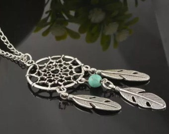 Turquoise Stone Dream Catcher Necklace