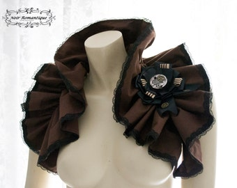 Steampunk brown bolero/shrug with brooch -steampunk accessories-brown with black lace bolero-Bolero/shrug-Costume piece-Ruffle shrug- brooch