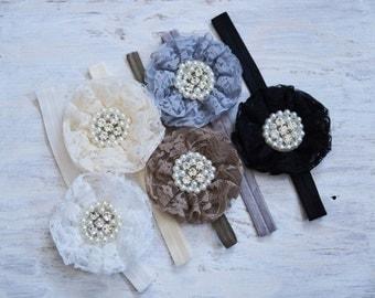 Beautiful Lace Flower Headband, Pick a colour