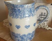 Vintage Large 3 Qt Blue Spongeware Roseville RRP, MILK Pitcher, Cream Pitcher, Country Cottage, Kitchen Decor, Flower Vase, Classic Hearts