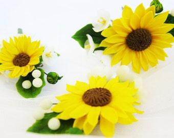 Sunflower hair pin, polymer clay, wedding flowers set, bridal flowers hair, bridal hair pin, sunflower boutonniere, bridal hair accessory