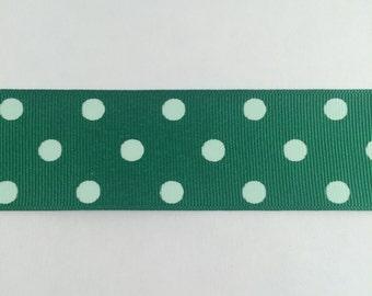 1.5 Inch Emerald Green and white dippy dots ribbon