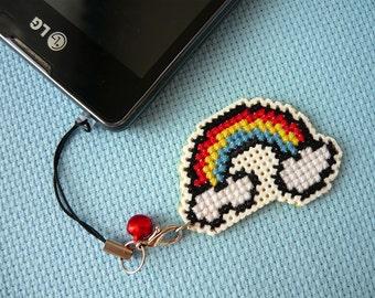 Cross stitch phone charm - beautiful rainbow, gift for teens, cute keychain, kawaii charm, cute phone dangle, Dust Plug, Earphone Plug