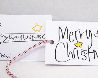 Christmas gift tag set.  Cute bird theme gift tags.