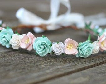 White and Mint Flower Crown, Halo Girls, Photo Prop, Flower Crown, Baby Flower Crown, Natural Wedding, Garland Hairwreath, Blush Flower Girl