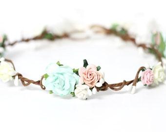 Blush Bridal Flower Crown, Wedding Flower Crown, Headpiece Bridal, Pink Flower Crown, Hair Wreath Mint, Headpiece, Ivory Flower Headband