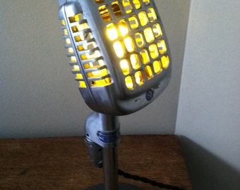 """Vintage Shure 737A """"Waffle Iron"""" Microphone Lamp"""