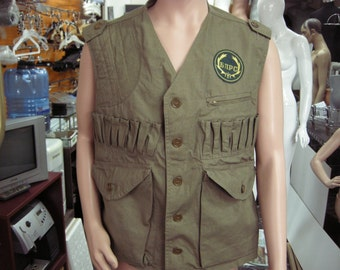 Vintage 1980's Green Canvas Hunting Vest - NEW