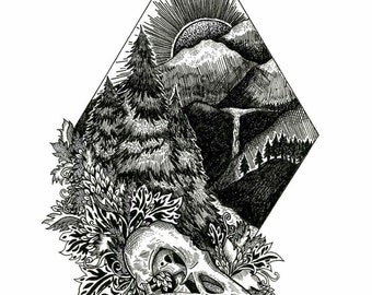 B&W Mountain Peak Print FREE SHIPPING IN U.S.A