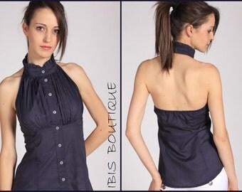 Elegant woman shirt, woman top, dark blue shirt, modern shirt, handmade shirt, summer shirt