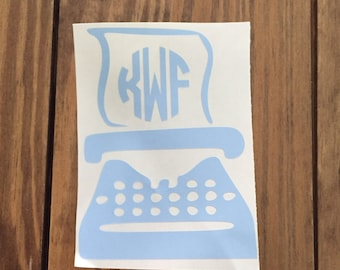 Journalism Monogram Decal - Typewriter Monogram