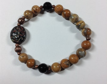 Picture Jasper Czech Glass Bracelet