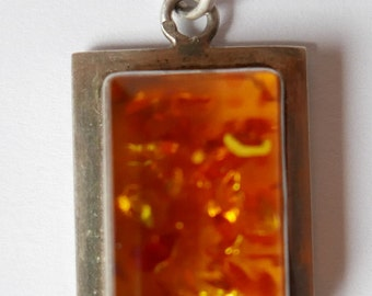Vintage 70s silver and amber pendant dangling silver and amber 70