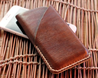 Freeshipping Iphone  leather sleeve case with card pocket / customization / top grain leather / made to last / brown / dark brown