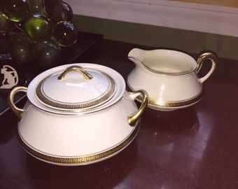 Antique Steubenville China Sugar & Creamer Set w/ 18kt gold trim