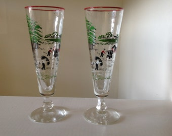 Mid Century Pilsner/Beer Glasses Plantation Scene set of 2