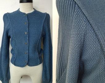 1980's Geiger Stormy Blue Knit Cardigan