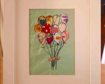 Applique Embroidery, freehand machine embroidery, machine embroidery, hoop art, baby shower gift, recycled fabric, art, balloons,bouquet,