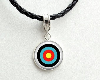 Archery Necklace - Archery charm necklace - Bulls eye necklace -Gift for an Archer or a bowman or toxophilite - target