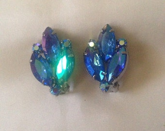 Blue Rhinestone Glamour Clips