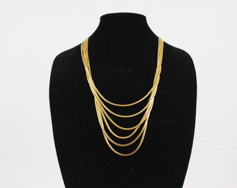Vintage Six Strand Gold Tone Necklace