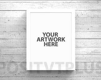 Poster Frame Photography Style / Rustic Wood / White wood / white frame / 8x10in / mockup
