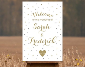 PRINTABLE Large Wedding Welcome Sign, Gold and Silver Gray Personalized Wedding Entrance Sign, Vintage Wedding Hearts Decor, DIGITAL FILE