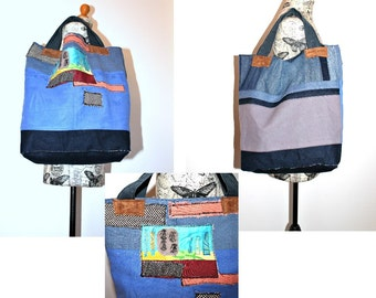 Handmade Recycled Denim Tote with Applique design Shopping bag Upcycled Denim Tote Patchwork bag Denim bag Ecological bag