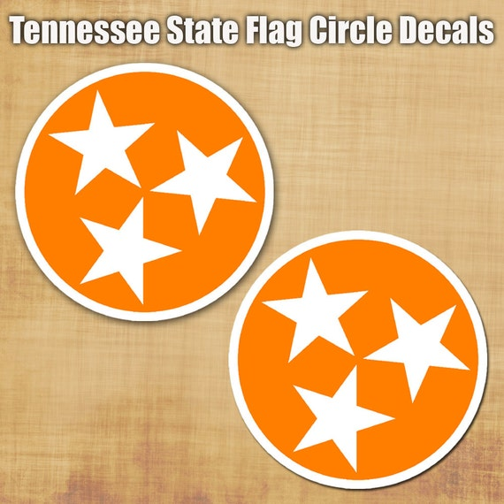 Tennessee Flag Circle Decal set - Pair of Tennessee state flag circle stickers - yeti sticker - tennessee sticker