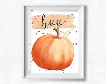 Boo Halloween Printable Art, Halloween Decor, Autumn Printable, Fall Pumpkin Poster, October Printable, Instant Download