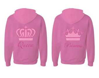 Mothers and daughters Pink contrast hoodie with glitter crowns
