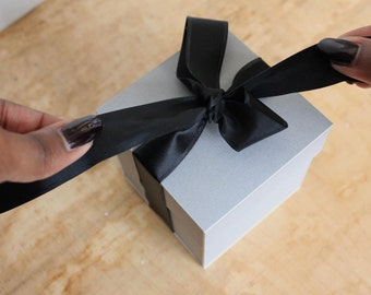 Gray 'Present' Gift Box with Black Ribbon by DPJ Designs