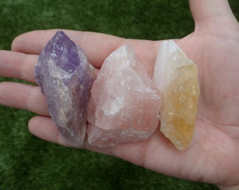 Amethyst, Rose Quartz, Citrine 3 Crystal Set!